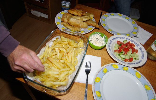 Fish and chips lunch before the challenge