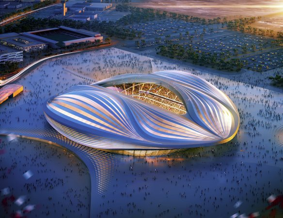 Artist's impression of the Al Wakrah stadium. Pic: Zaha Hadid Architects
