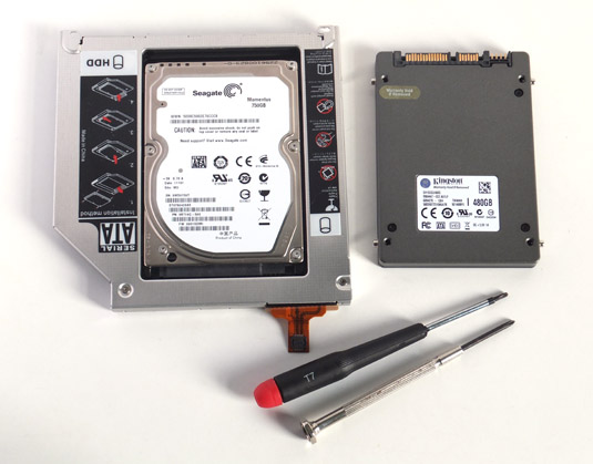 Seagate Momentus 750GB HDD in caddy with a Kingston HyperX 480GB SSD