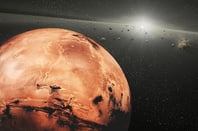 Artist's image of asteroids and Mars