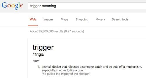 Screenshot of googling for trigger as a word defintion
