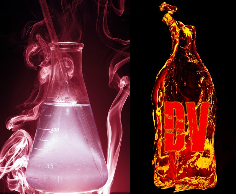Flaming bottle of the Devils Venom