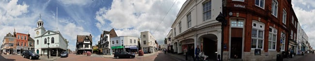 Panoramic view of Faversham's market square by Phil Houghton