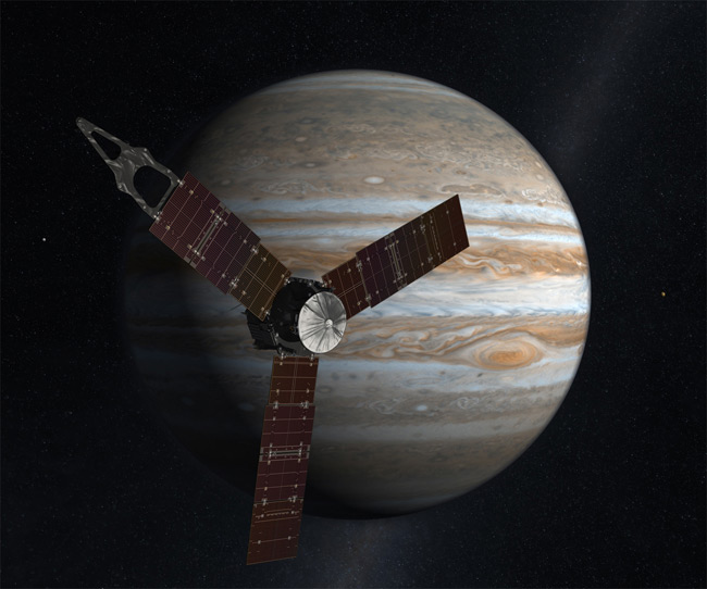 Artist's impression of Juno and Jupiter. Pic: NASA