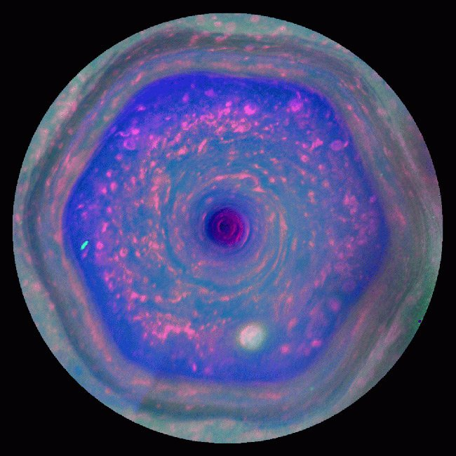 Cassini false-colour view of the six-sided storm. Pic: NASA