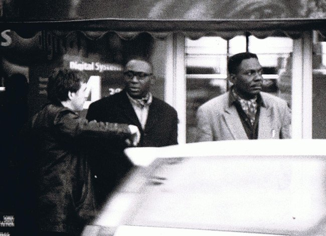 Donal MacIntyre with two Nigerian 419 scammers, shot on Kodak T-Max 3200