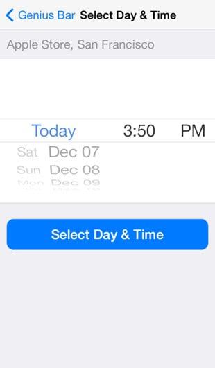 iOS 7 Apple Store app: Genus Bar scheduling screen