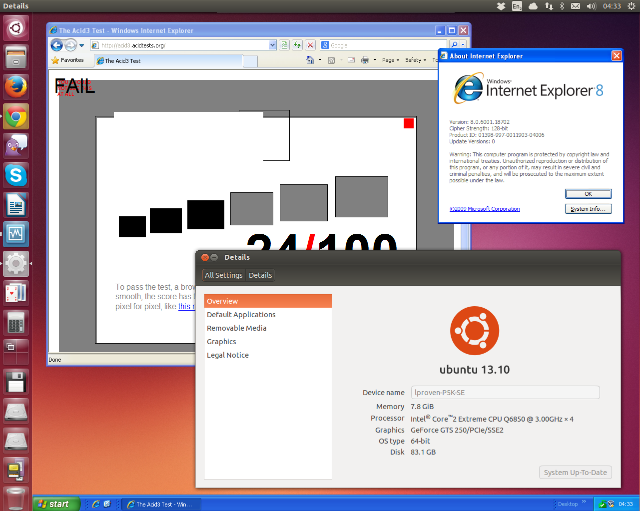Windows XP on Ubuntu in perfect harmony