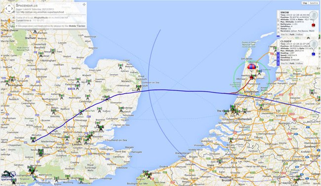 Map showing track of the flight from the UK to Europe