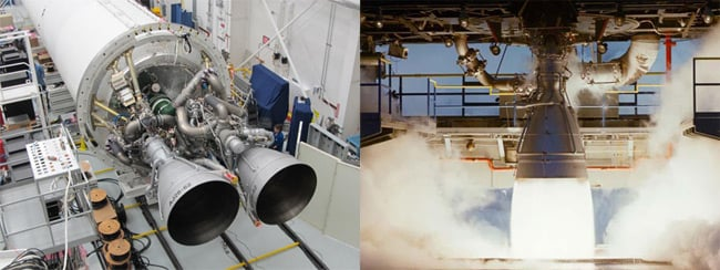 AJ-26 engines mounted on an Antares rocket, and an engine during test fi