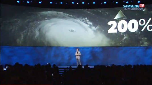 Samsung Electronics president and CEO BK Yoon speaking of climate disruption at CES 2014