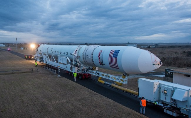 Antares rolls out on 5 January. Pic: NASA/Bill Ingalls