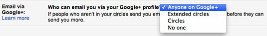 Blocking emails from Google+ users