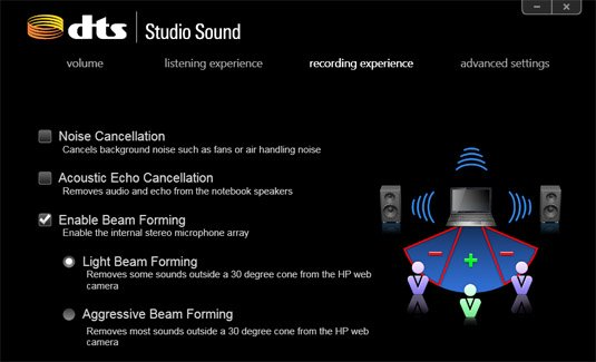 DTS Studio Sound Beam forming options