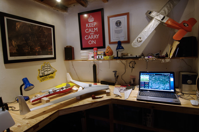 The new Vulture 2 workspace - workbench, laptop, shelving