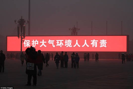 Sign in Beijing's Tiananmen Square saying 'Protecting atmospheric environment is everyone's responsibility'