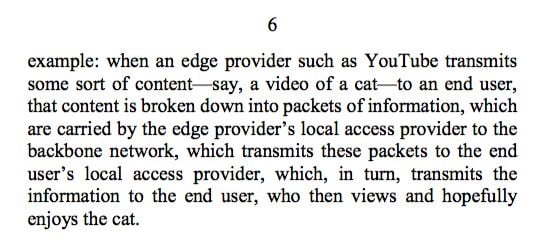 Quote from the judge: When an edge provider such as YouTube transmits some sort of content—say, a video of a cat—to an end user, that content is broken down into packets of information, which are carried by the edge provider's local access provider to the backbone network, which transmits these packets to the end user's local access provider, which, in turn, transmits the information to the end user, who then views and hopefully enjoys the cat.