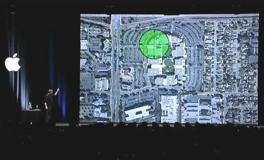 Steve Jobs points to where in One Infinite Loop the work to compile Mac OS X for Intel took place