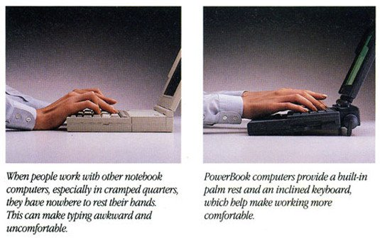 Apple's PowerBook innovation: the keyboard moves to the back of the lower half of the laptop case