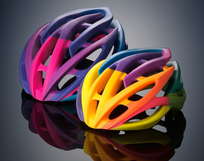 Two bicycle helmets printed by the Stratasys Objet500 Connex3. Pic: Stratasys