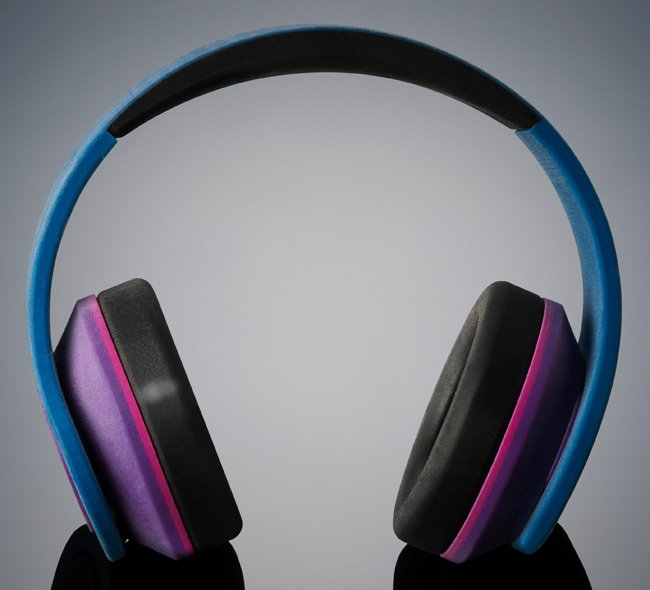 Prototype headphones with 'rubber-like' components. Pic: Stratasys