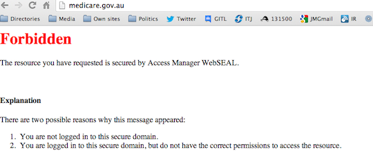 Server error message at medicare.gov.au