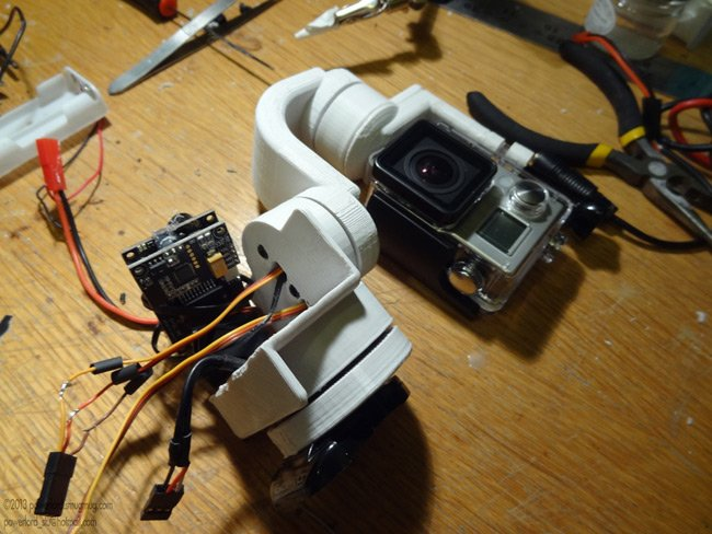 The Stubilizer and GoPro camera, during wiring