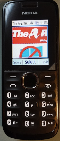 Nokia 110 displaying El Reg