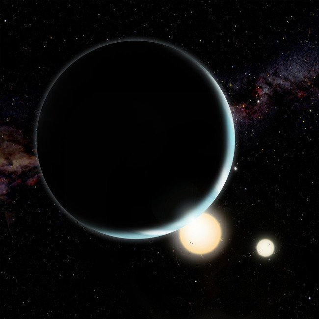 An artist's conception of Kepler-34b which orbits a double-star sy