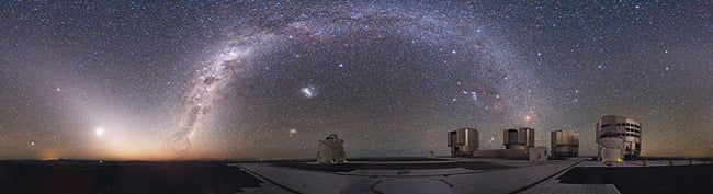 Night-time panorama of the Paranal facility