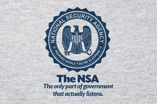 A tee with a slogan reads: The NSA, the only part of the government that listens