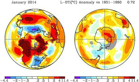 Goddard Institute for Space Studies (GISS) global temperature anomaly map for January 2014