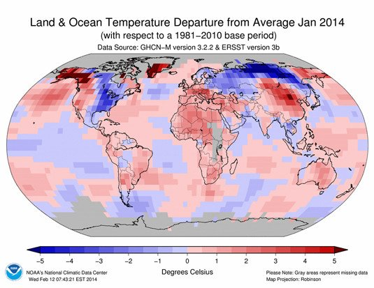 National Oceanic and Atmospheric Agency (NOAA) map of temperature anomalies in January 2014