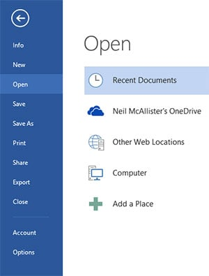 Screenshot of Office 2013 SP1 showing OneDrive branding