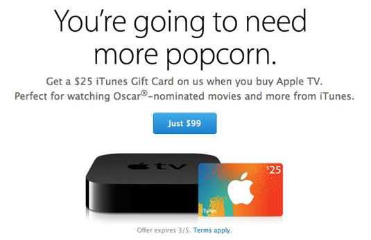 Promo from Apple website, bundling $25 iTunes gift card with $99 Apple TV