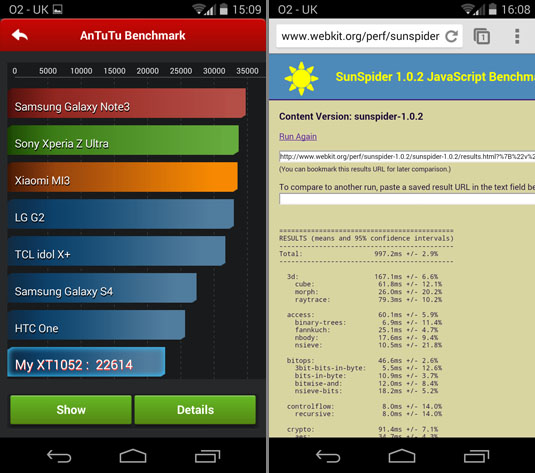 Motorola Moto X AnTuTu and SunSpider scores