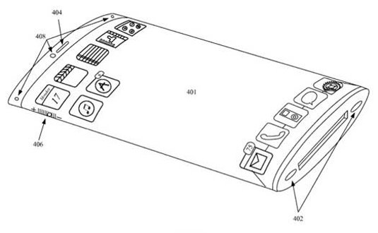 Illustration from Apple patent 'Electronic device with wrap around display '