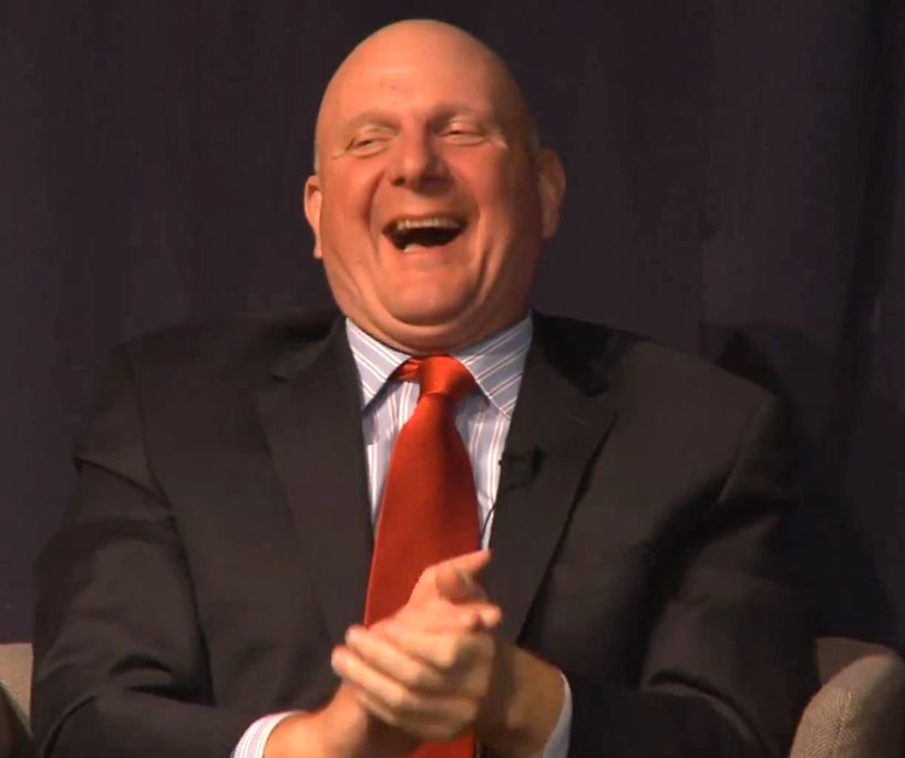 A still of Steve Ballmer at the Oxford Uni talk