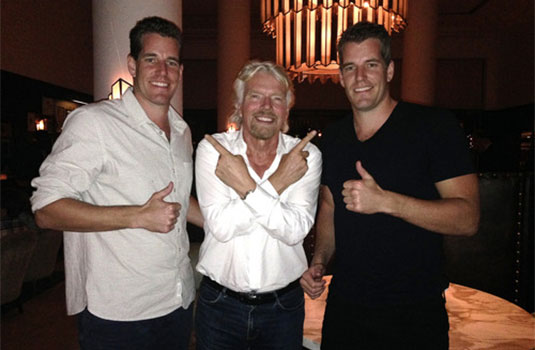 Photo of the Winklevoss twins with Virgin Galactic's Richard Branson