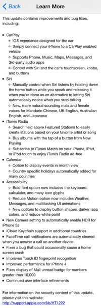 Details of Apple's iOS 7.1 update