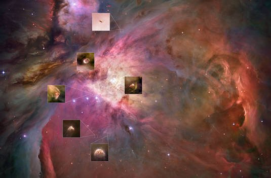 Hubble Space Telescope image of propels in the Orion Nebula