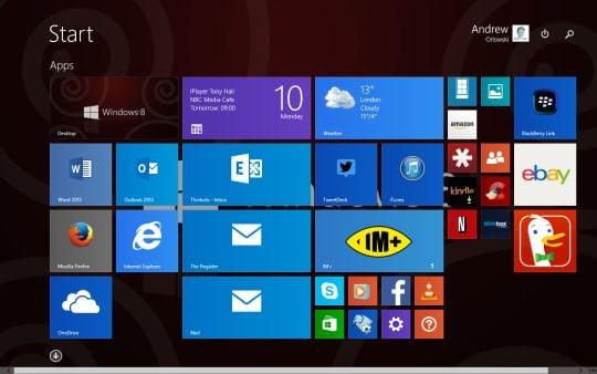 Screenshot of the Windows 8.1 Update 1 desktop