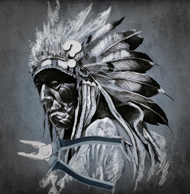 An American Indian pondering just what pliers are