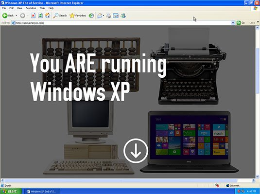 Screenshot from AmIRunningXP.com