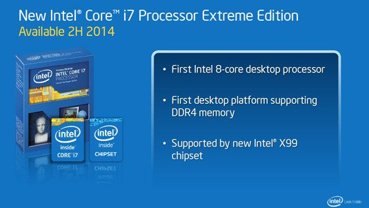 Intel presentation slide: Intel eight-core Extreme Edition processor