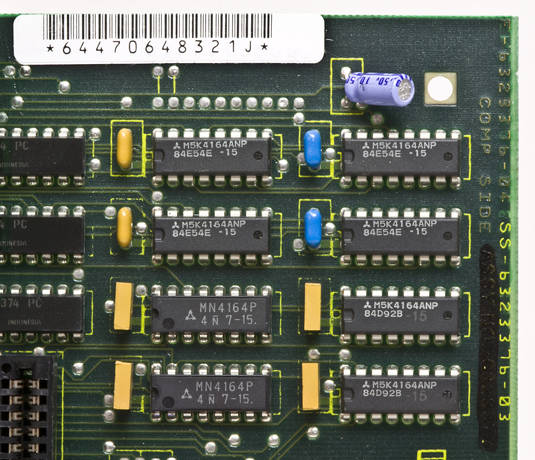 64KB of memory in eight 64Kb chips on the PCjr logic board