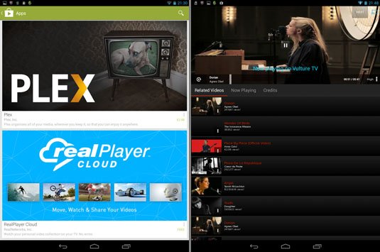Plex and RealPlayer app choices, Vevo playback from Android tablet