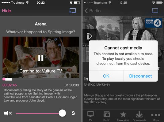 Google Casting iPlayer content on iOS works for TV but not radio