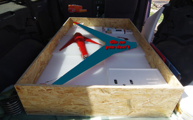 The Vulture 2 in its box in the van
